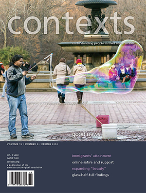 Contexts: Spring 2016 issue cover. People in park seen through a large bubble