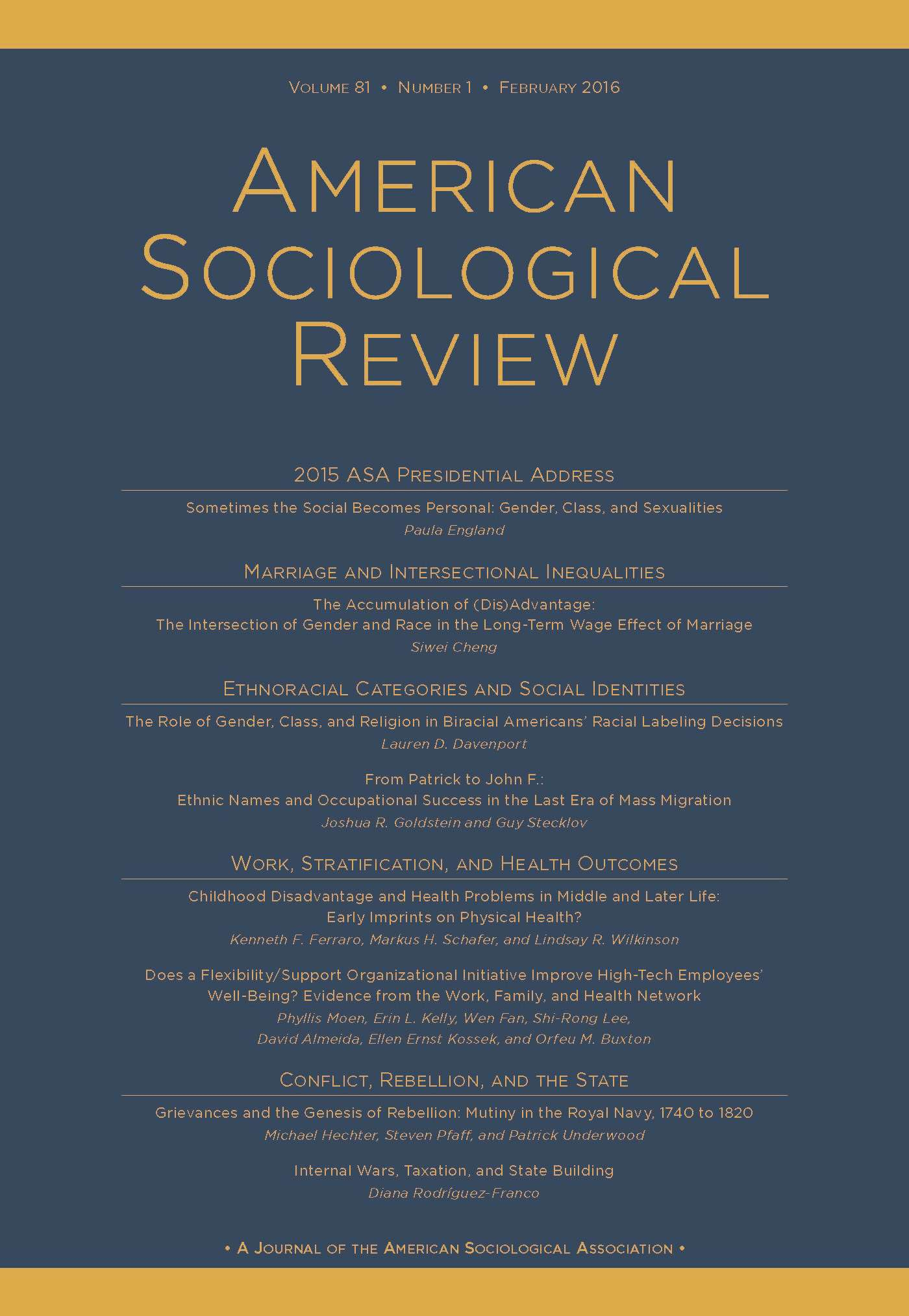 Cover of the February 2016 issue of the American Sociological Review. (Blue and gold.)
