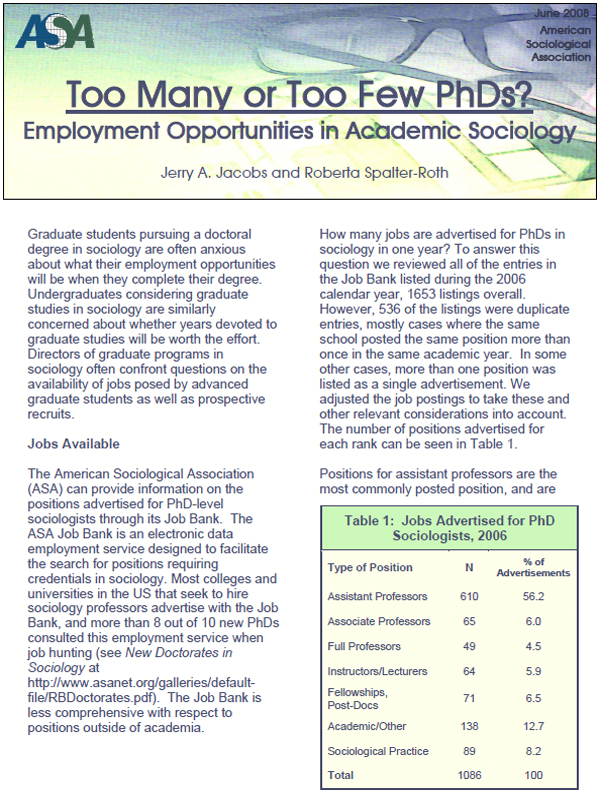 Too Many or Too Few PhDs?: Employment Opportunities in Academic Sociology