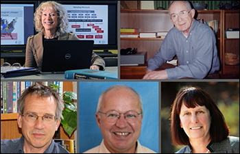 From left to right: Kathleen Mullan Harris, Richard Udry, Peter Bearman, Ronald R. Rindfuss, and Barbara Entwisle