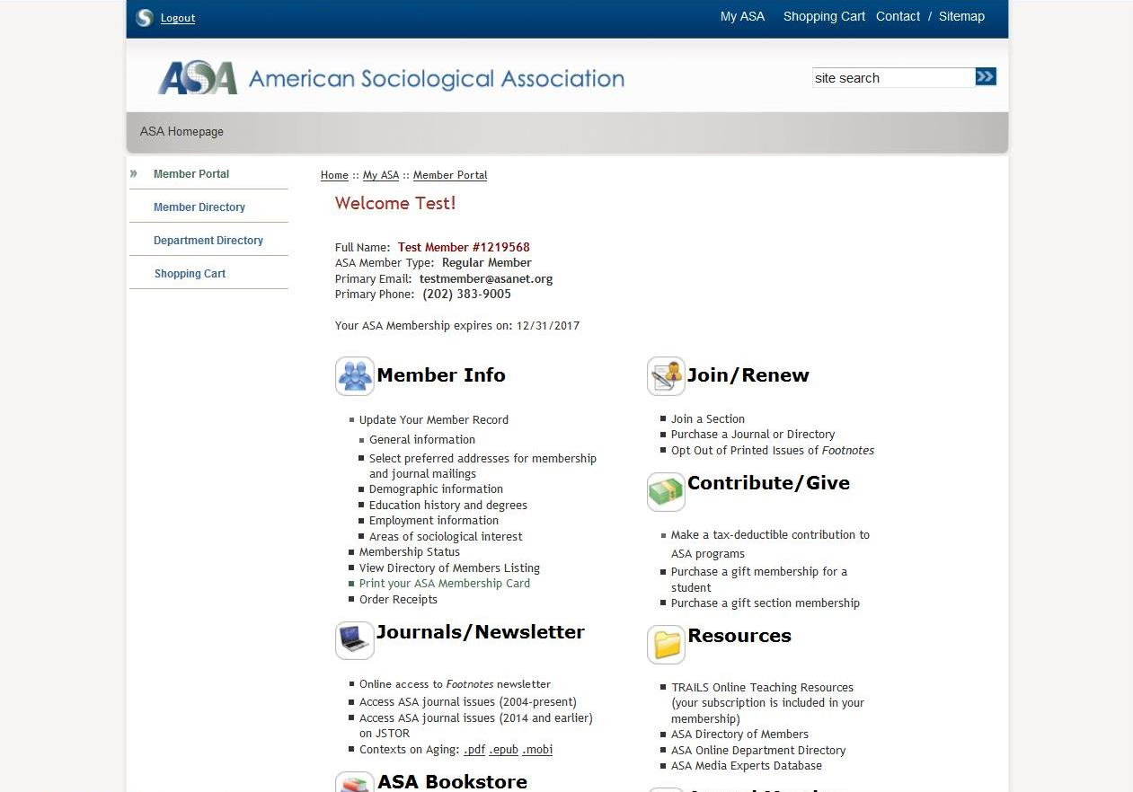 Screenshot of ASA member portal webpage.