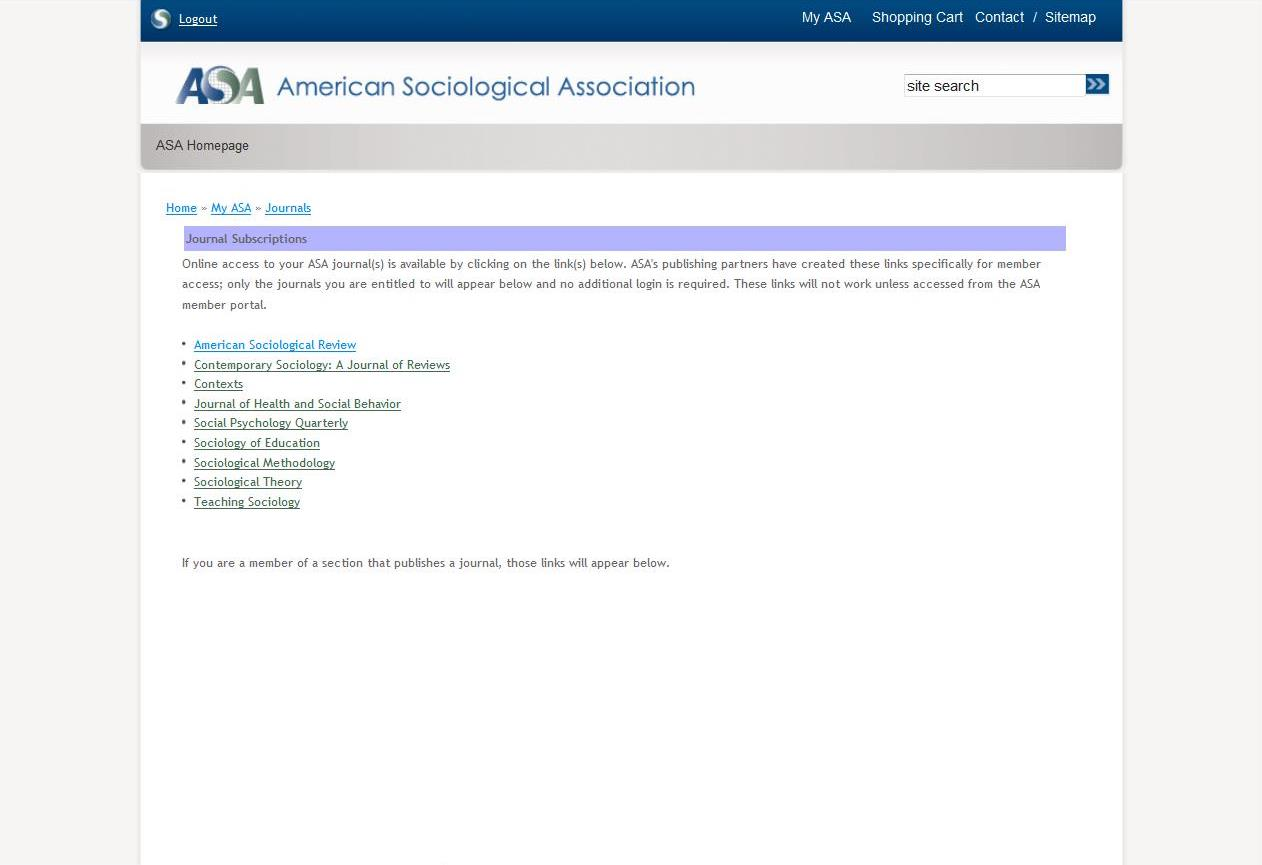 Journal access page in the member portal with links to each ASA journal.