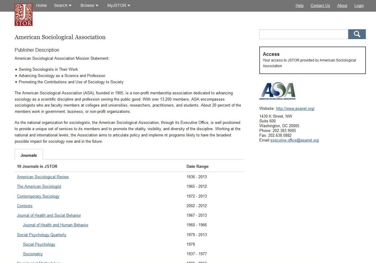 ASA Publisher page on JSTOR
