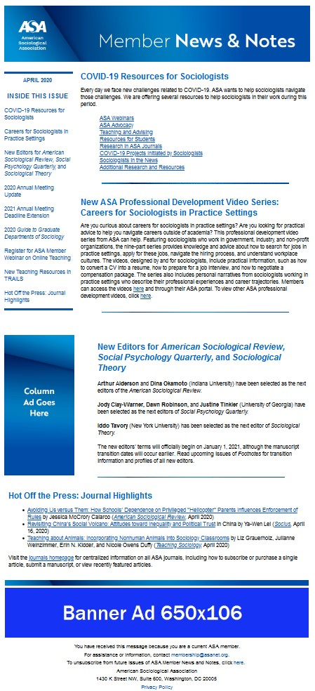 Example image of placement of advertising images on ASA Members News and Notes