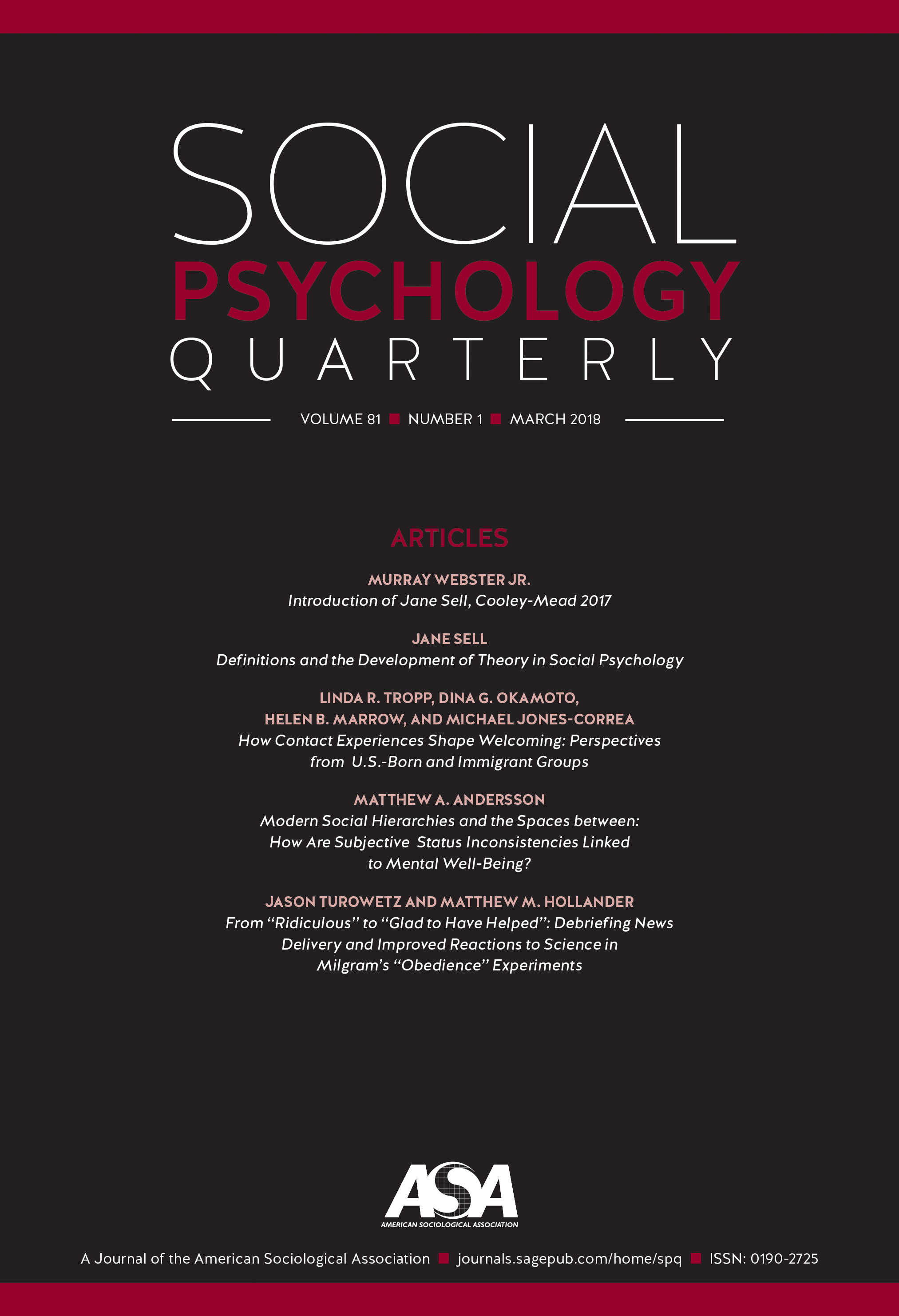 Cover of Social Psychology Quarterly 2018