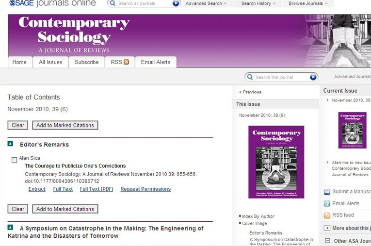 Contemporaty Sociology November 2010 Table of Contents