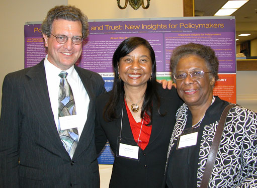 ASA Director of Public Affairs Lee Herring (left), Duke University sociologist Linda Burton, and Acting Deputy Director of the National Science Foundation Cora Marrett in front of Burton's exhibit at the CNSF's 16th annual exhibition and reception on April 14.