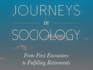 Cover of book Journeys in SOciology: From First Encounters to Fulfilling Retirements. Blure sky with small clouds in the background.