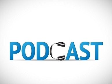 Image of microphone and podcast text