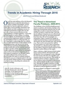 Cover image of 2015 ASA Trends in Academic Hiring