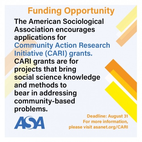 ASA Community Action Research Initiative Grant Deadline: August 31