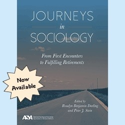 Cover of book Journeys in SOciology: From First Encounters to Fulfilling Retirements. Blure sky with small clouds in the background and yellow star with the words Now Available.