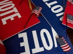 Blue and red vote signs